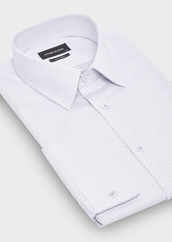 Chemise habillée Regular en coton jacquard blanc à motifs géométriques bleus - Father and Sons 28688