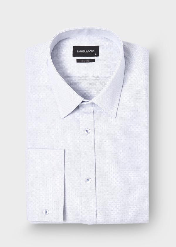 Chemise habillée Regular en coton jacquard blanc à motifs géométriques bleus - Father and Sons 28687
