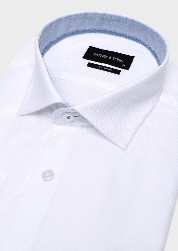 Chemise habillée Regular en coton façonné uni blanc - Father and Sons 34131