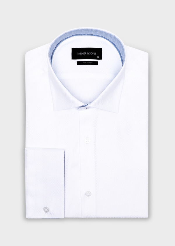 Chemise habillée Regular en coton façonné uni blanc - Father and Sons 34129