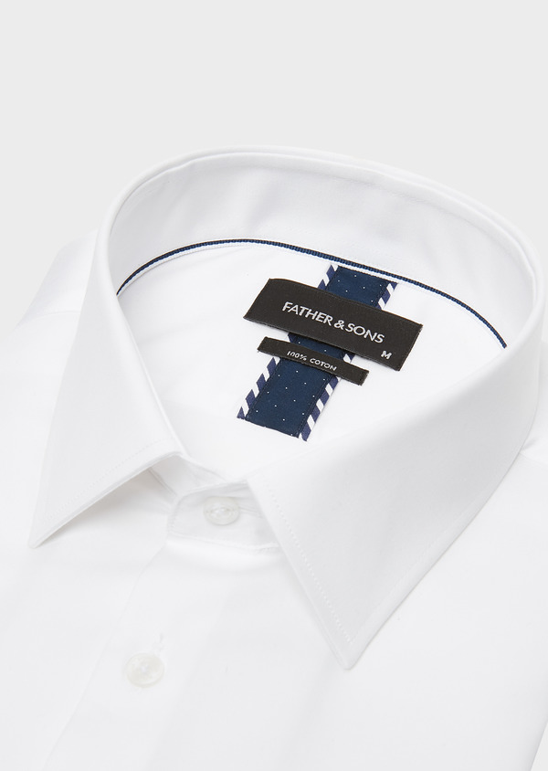 Chemise habillée Regular en satin blanc uni - Father and Sons 26044