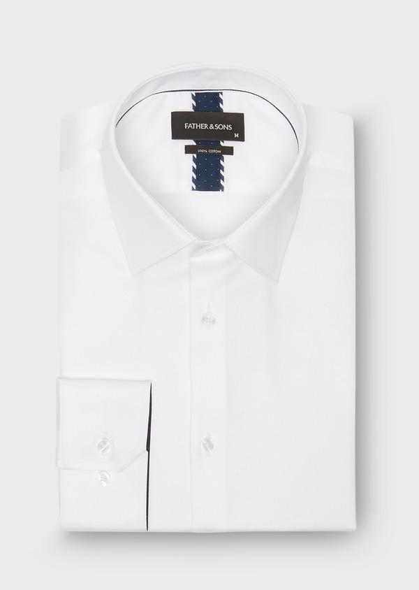 Chemise habillée Regular en satin blanc uni - Father and Sons 26042