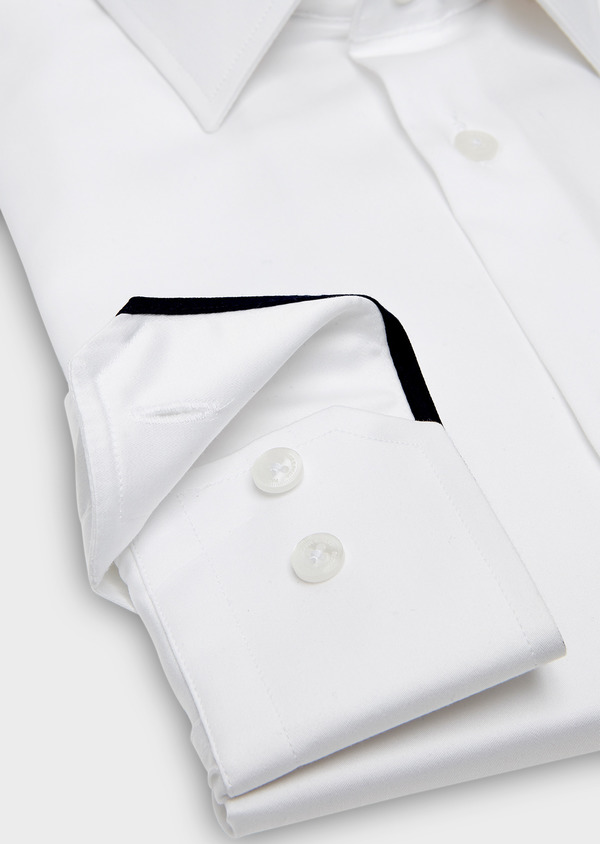 Chemise habillée Regular en satin blanc uni - Father and Sons 26045