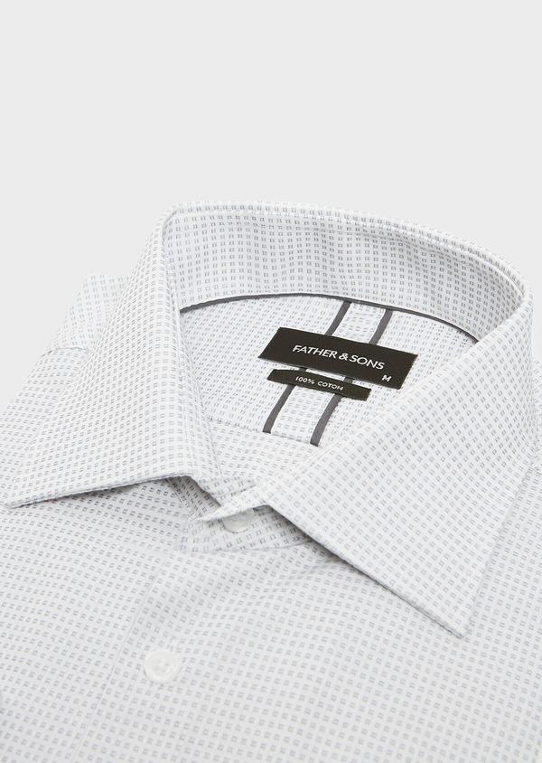 Chemise habillée Regular en satin gris à motif fantaisie - Father and Sons 32384