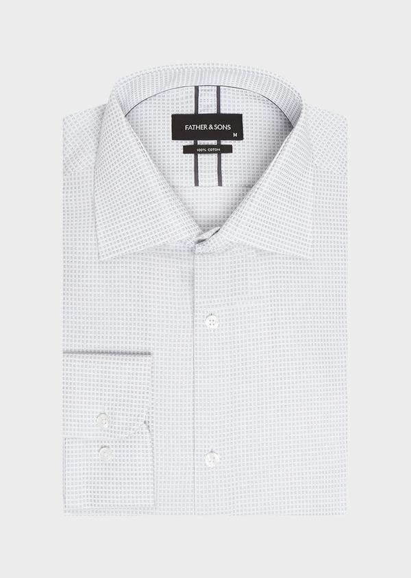 Chemise habillée Regular en satin gris à motif fantaisie - Father and Sons 32382