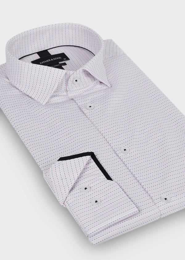 Chemise habillée Slim en coton façonné blanc à pois bleu et rose - Father and Sons 29982