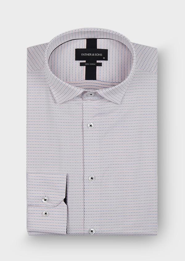 Chemise habillée Slim en coton façonné blanc à pois bleu et rose - Father and Sons 29981