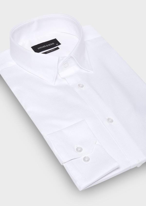 Chemise habillée Slim en coton façonné uni blanc - Father and Sons 29986