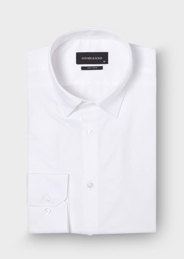 Chemise habillée Slim en coton façonné uni blanc - Father and Sons 29985
