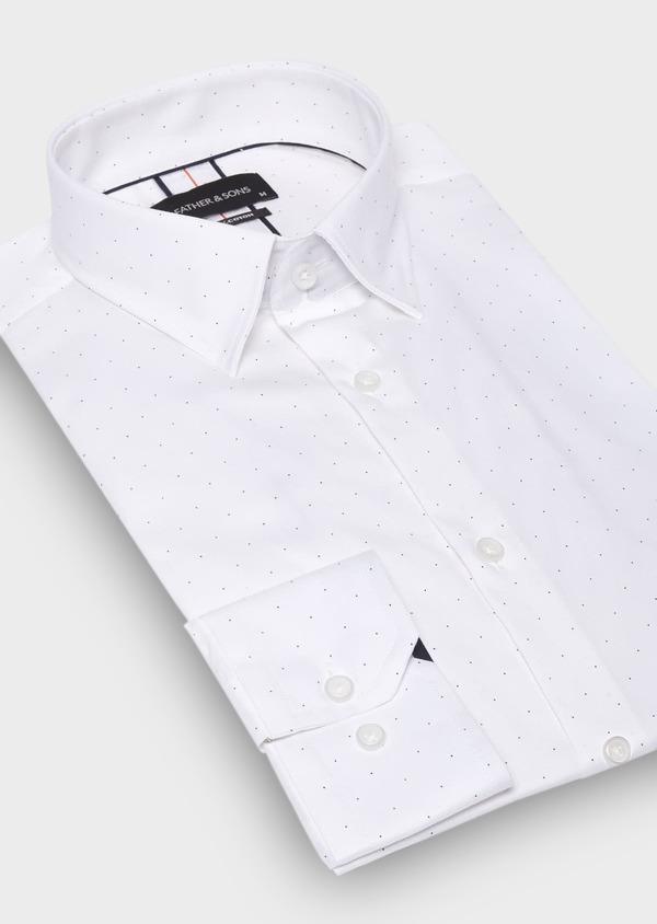 Chemise habillée Slim en popeline de coton blanc à pois bleus - Father and Sons 30006