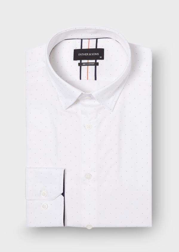Chemise habillée Slim en popeline de coton blanc à pois bleus - Father and Sons 30005