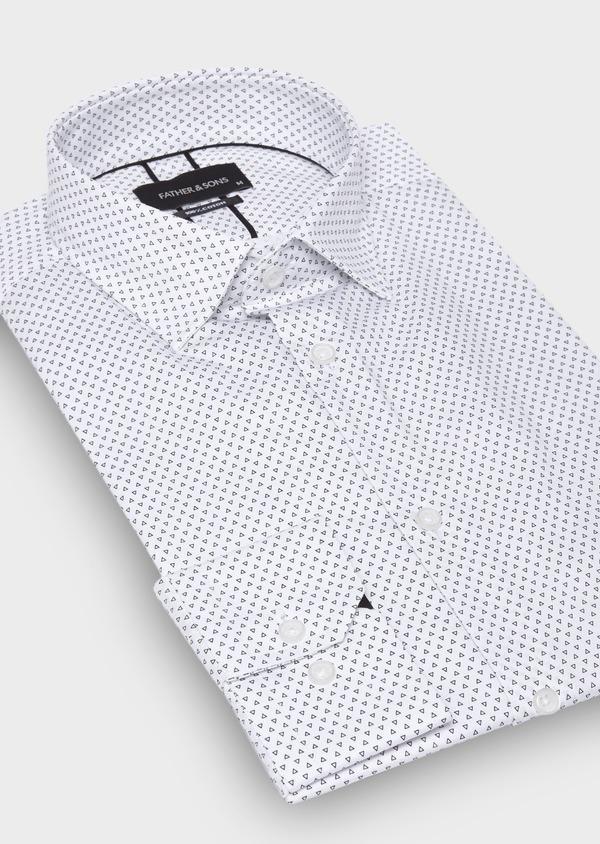 Chemise habillée Slim en popeline de coton blanc à motifs géométriques - Father and Sons 30010