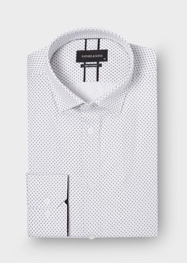 Chemise habillée Slim en popeline de coton blanc à motifs géométriques - Father and Sons 30009