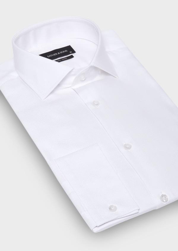 Chemise habillée Slim en coton façonné uni blanc - Father and Sons 30042