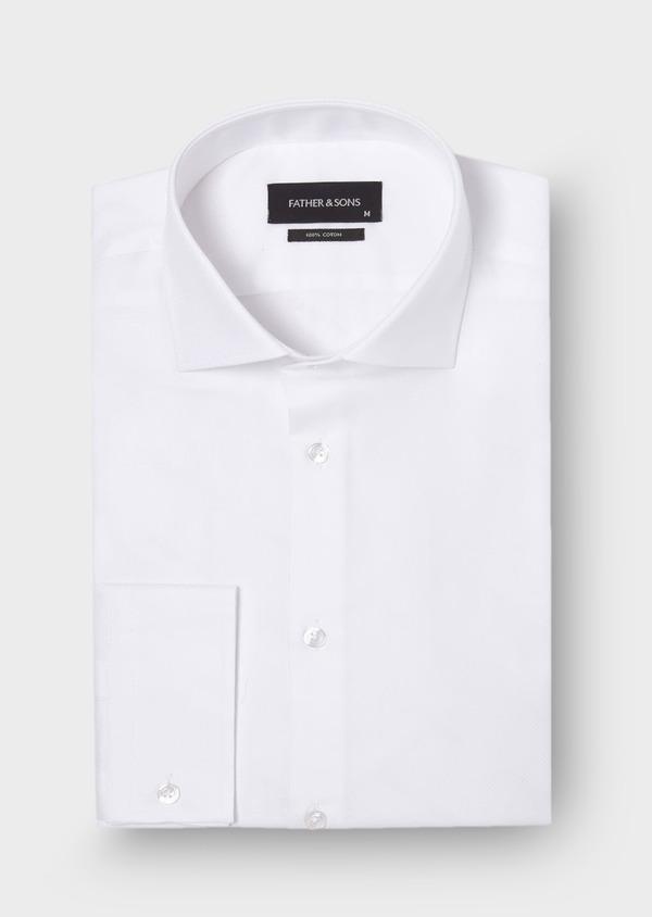 Chemise habillée Slim en coton façonné uni blanc - Father and Sons 30041