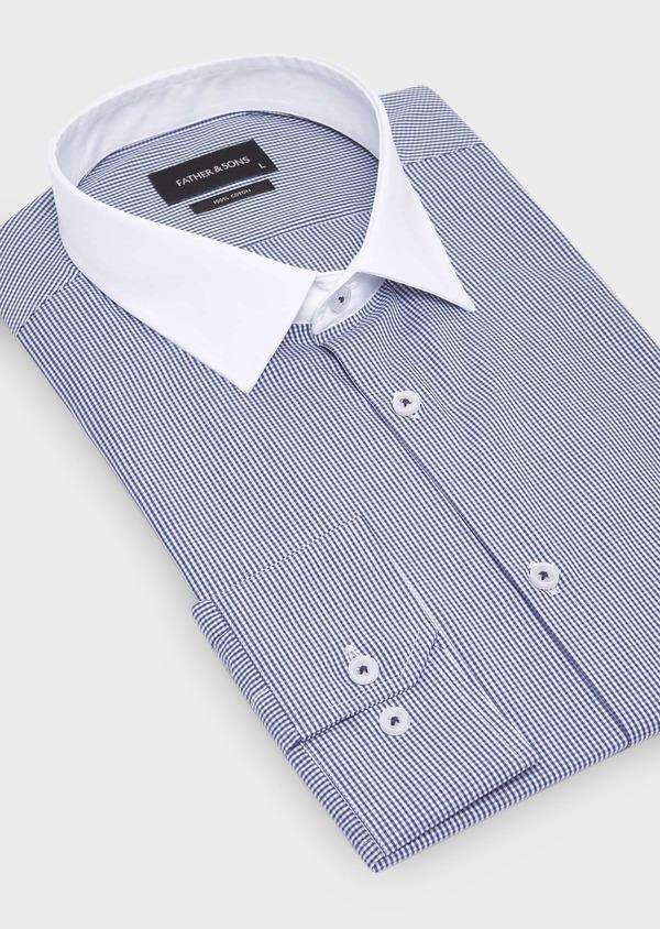 Chemise habillée Slim en popeline de coton à carreaux bleu marine - Father and Sons 28684