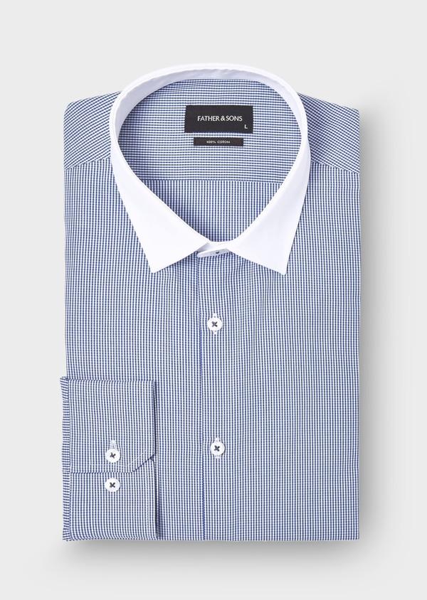 Chemise habillée Slim en popeline de coton à carreaux bleu marine - Father and Sons 28683