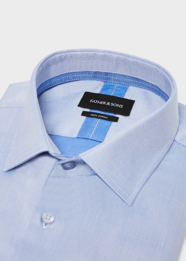 Chemise habillée Slim en coton à motif fantaisie bleu azur - Father and Sons 31725