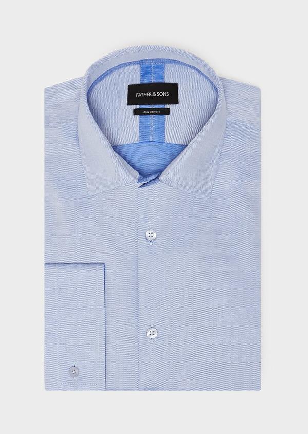 Chemise habillée Slim en coton à motif fantaisie bleu azur - Father and Sons 31723
