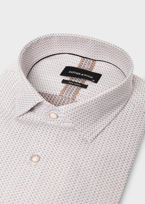 Chemise habillée Slim en coton Jacquard à motif fantaisie beige - Father and Sons 27512