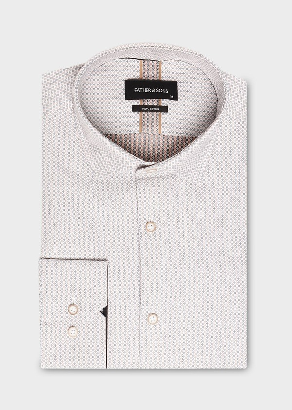 Chemise habillée Slim en coton Jacquard à motif fantaisie beige - Father and Sons 27510