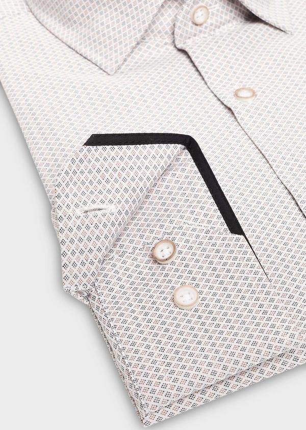 Chemise habillée Slim en coton Jacquard à motif fantaisie beige - Father and Sons 27513