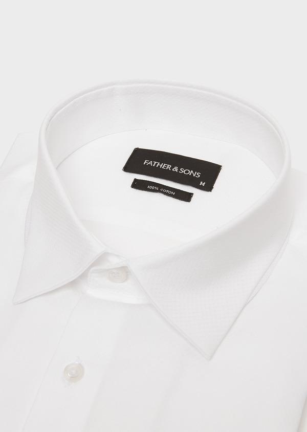 Chemise habillée Slim en coton façonné blanc à motif fantaisie - Father and Sons 26116