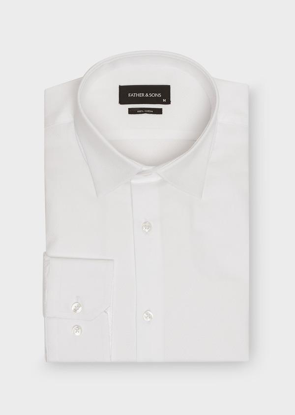 Chemise habillée Slim en coton façonné blanc à motif fantaisie - Father and Sons 26115