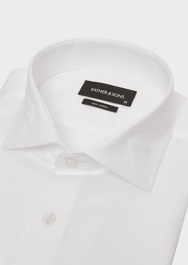 Chemise habillée Slim en coton façonné blanc à motif fantaisie - Father and Sons 26196