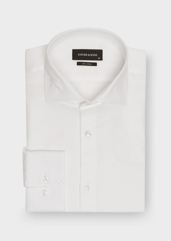 Chemise habillée Slim en coton façonné blanc à motif fantaisie - Father and Sons 26195