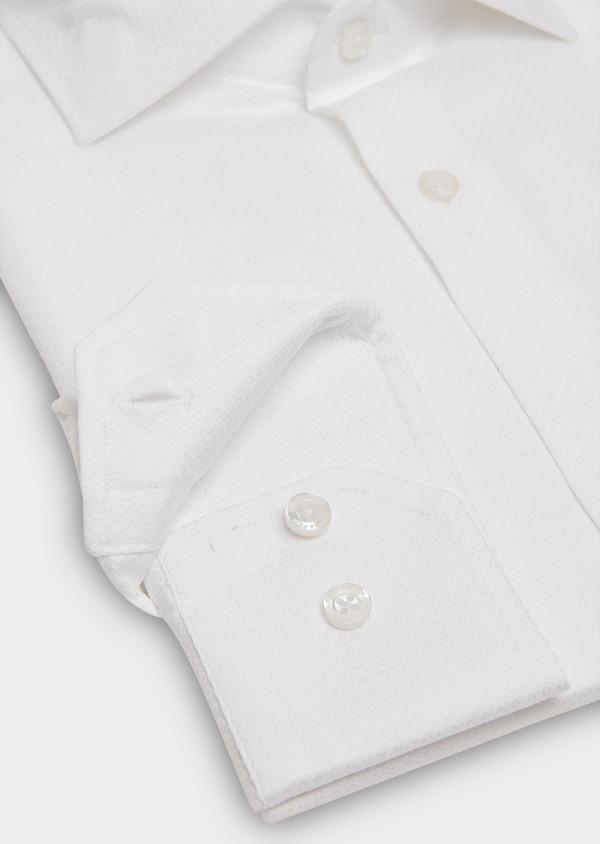 Chemise habillée Slim en coton façonné blanc à motif fantaisie - Father and Sons 26197