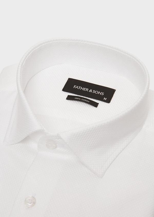 Chemise habillée Slim en popeline de coton blanc à motif fantaisie - Father and Sons 26222