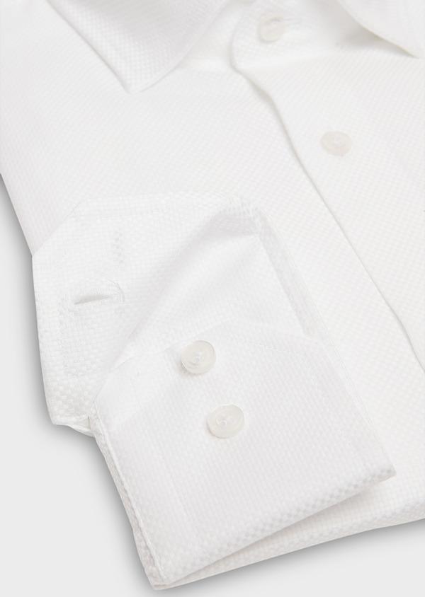 Chemise habillée Slim en popeline de coton blanc à motif fantaisie - Father and Sons 26223