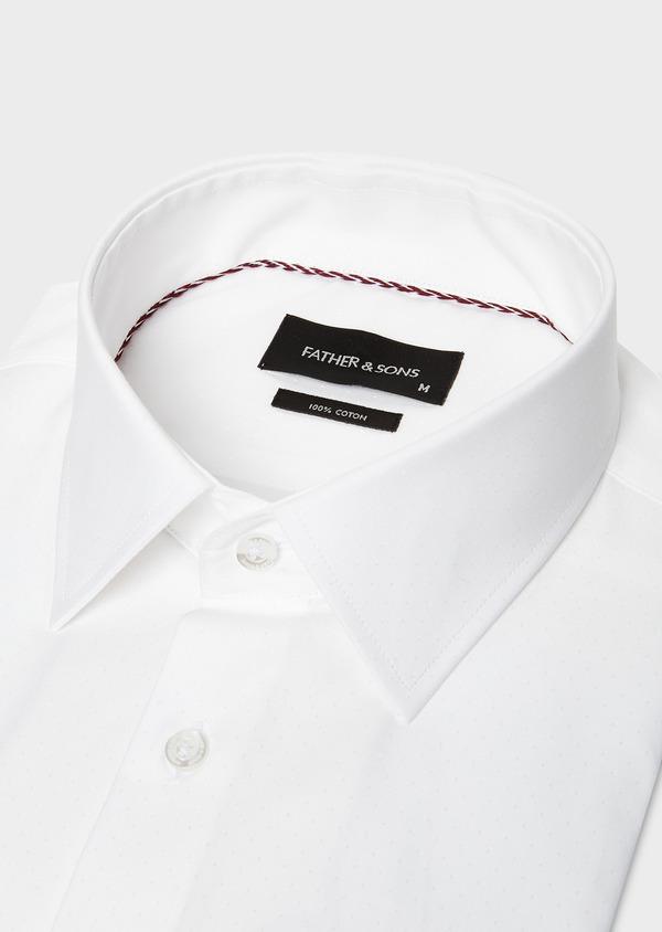 Chemise habillée Slim en coton façonné blanc à motif fantaisie - Father and Sons 27568