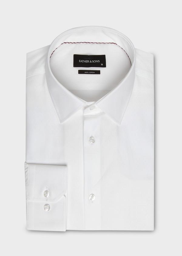 Chemise habillée Slim en coton façonné blanc à motif fantaisie - Father and Sons 27566