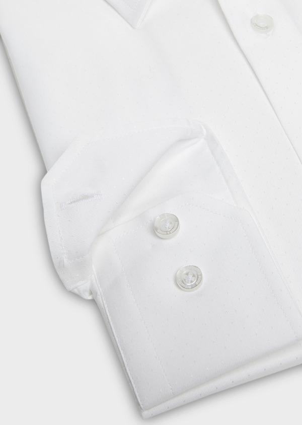 Chemise habillée Slim en coton façonné blanc à motif fantaisie - Father and Sons 27569