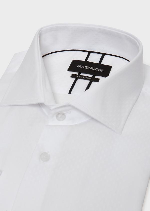 Chemise habillée Slim en coton façonné à motif fantaisie blanc - Father and Sons 31715