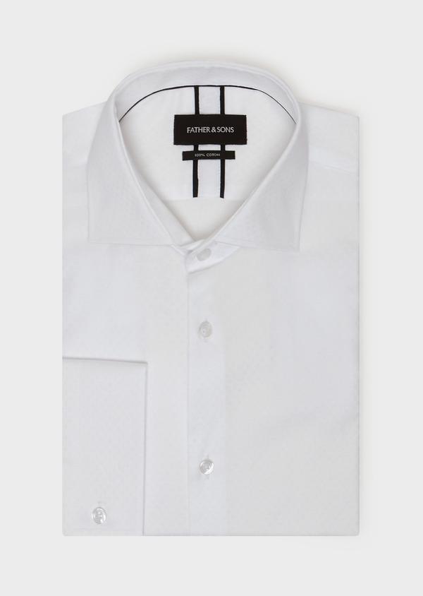 Chemise habillée Slim en coton façonné à motif fantaisie blanc - Father and Sons 31713