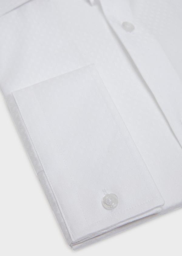 Chemise habillée Slim en coton façonné à motif fantaisie blanc - Father and Sons 31716