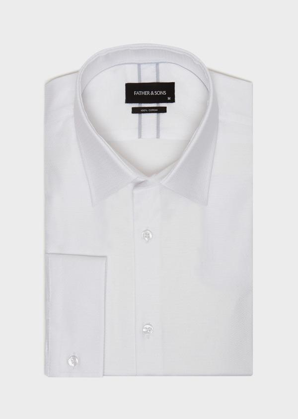 Chemise habillée Slim en coton façonné à motif fantaisie blanc - Father and Sons 31733