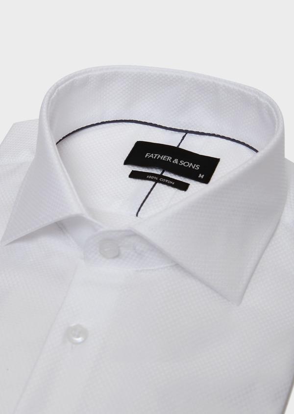 Chemise habillée Slim en coton façonné à motif fantaisie blanc - Father and Sons 31745