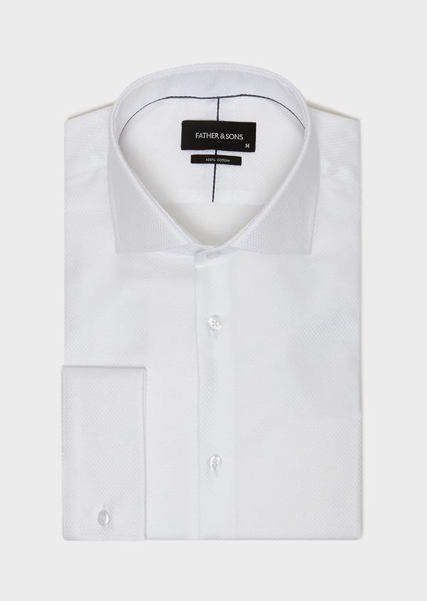 Chemise habillée Slim en coton façonné à motif fantaisie blanc - Father and Sons 31743