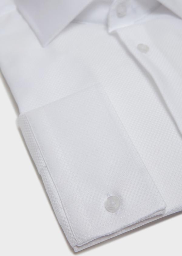 Chemise habillée Slim en coton façonné à motif fantaisie blanc - Father and Sons 31746