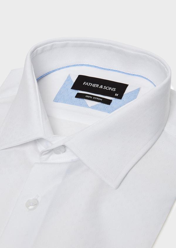 Chemise habillée Slim en coton façonné blanc à motif fantaisie ton-sur-ton - Father and Sons 32316