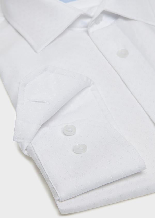 Chemise habillée Slim en coton façonné blanc à motif fantaisie ton-sur-ton - Father and Sons 32317
