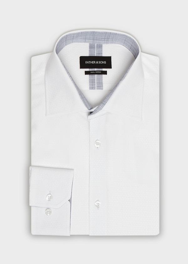 Chemise habillée Slim en coton façonné blanc à motif fantaisie blanc - Father and Sons 32318