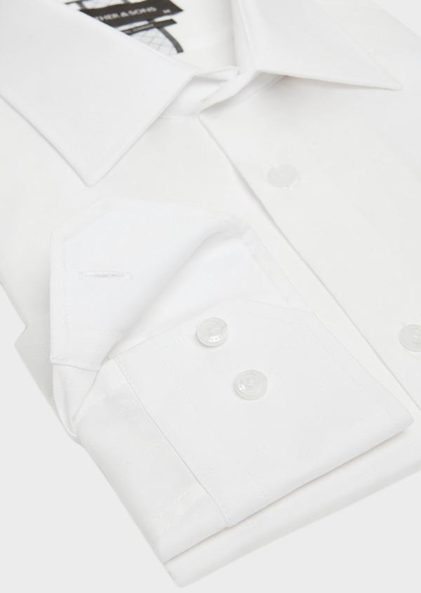 Chemise habillée Slim en popeline de coton blanc à motif fantaisie ton-sur-ton - Father and Sons 32365