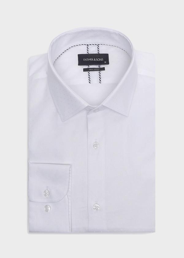 Chemise habillée Slim en coton façonné uni blanc à pois ton-sur-ton - Father and Sons 32450