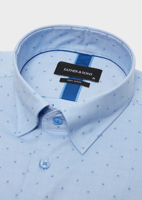 Chemise habillée Slim Oxford à motif fantaisie azur - Father and Sons 26129