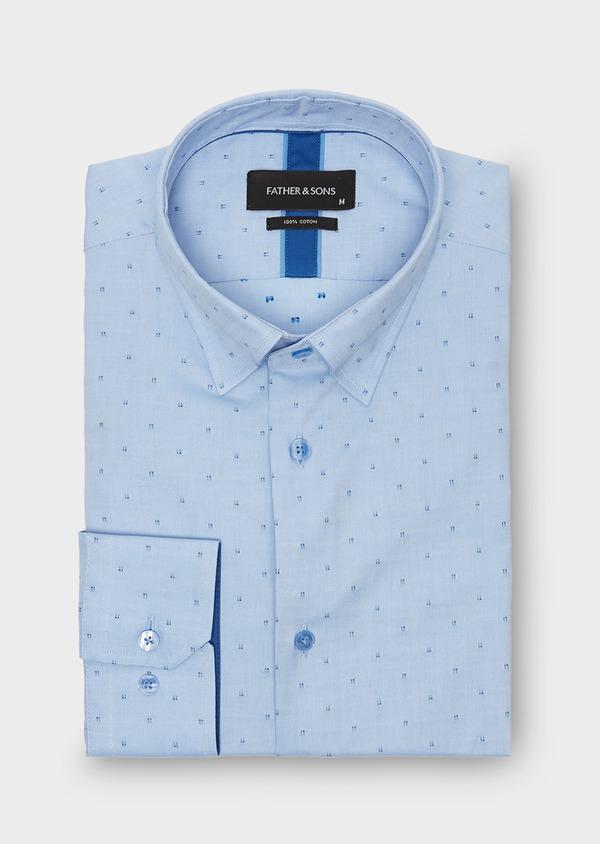 Chemise habillée Slim Oxford à motif fantaisie azur - Father and Sons 26127